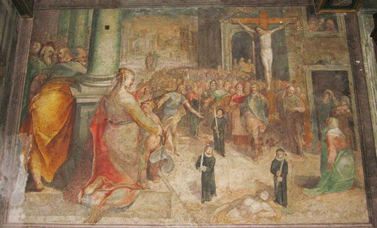 Paris Nogari, La processione del 1522 (1583-1584; affresco; Roma, Oratorio del Crocifisso)