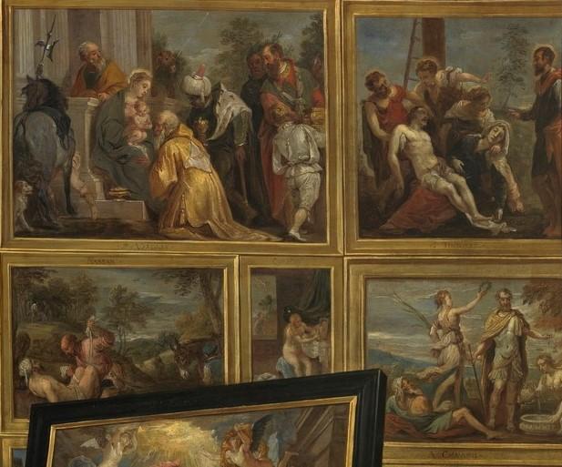 6. David Teniers il giovane, L'arciduca Leopoldo Guglielmo nella sua Galleria, Madrid, Museo del Prado, particolare