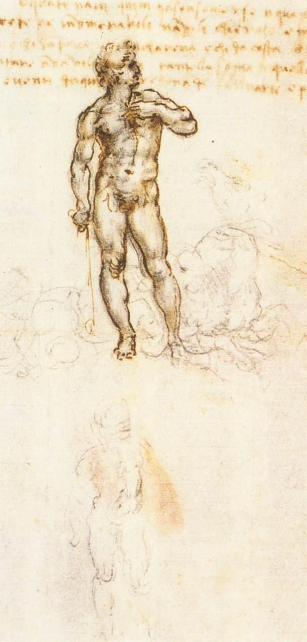 Leonardo da Vinci, Studio del David di Michelangelo (1505; penna, inchiostro e carboncino su carta; Windsor, Royal Collection)