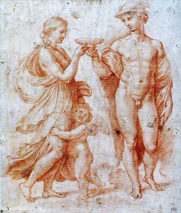 Raffaello, Studio per Mercurio e Psiche (1517; sanguigna e matita su carta, 269 x 227 mm; Monaco di Baviera, Staatliche Graphische Sammlung)