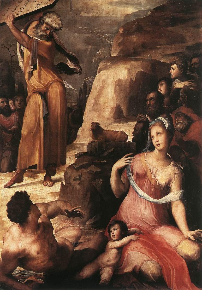 Domenico Beccafumi, Mosè e il vitello d'oro (1536-1537; olio su tavola, 197 x 139 cm; Pisa, Duomo)