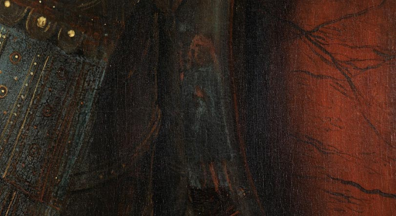 Jan van Eyck, Madonna del canonico Van der Paele, dettaglio con l'autoritratto di Jan van Eyck