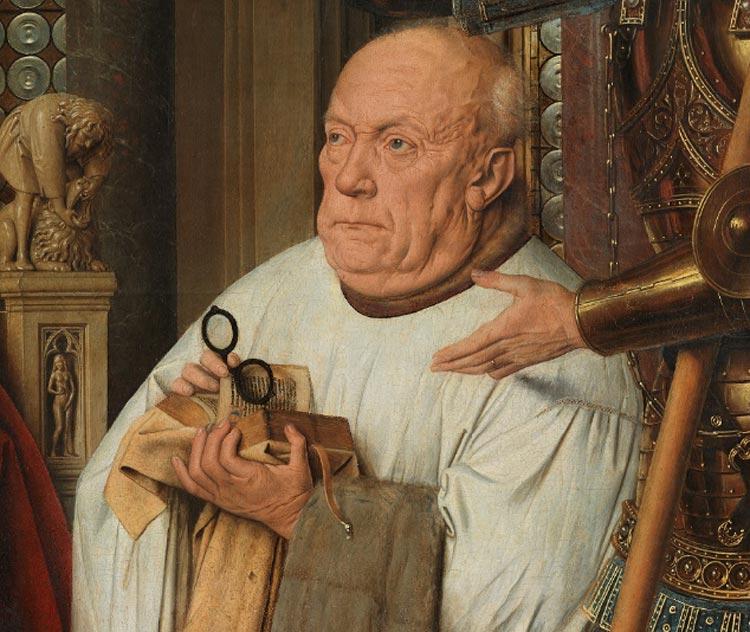 Jan van Eyck, Madonna del canonico Van der Paele, dettaglio con il donatore