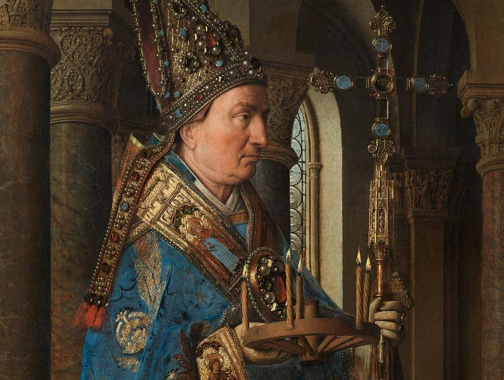 Jan van Eyck, Madonna del canonico Van der Paele, dettaglio con san Donaziano