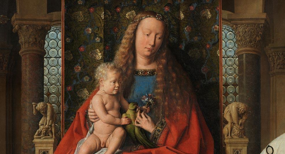 Jan van Eyck, Madonna del canonico Van der Paele, dettaglio con la Vergine e il Bambino