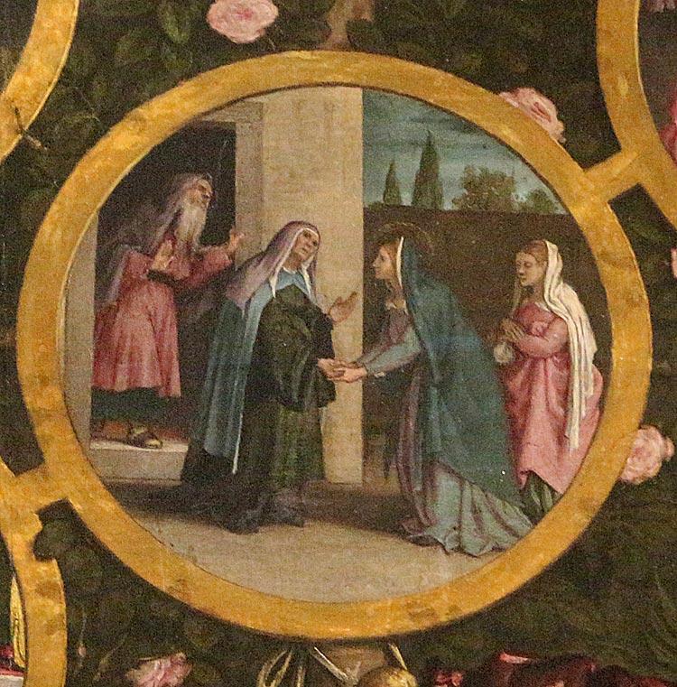 Lorenzo Lotto, Madonna del Rosario, dettaglio (1539; olio su tela, 384 x 264 cm; Cingoli, San Domenico)