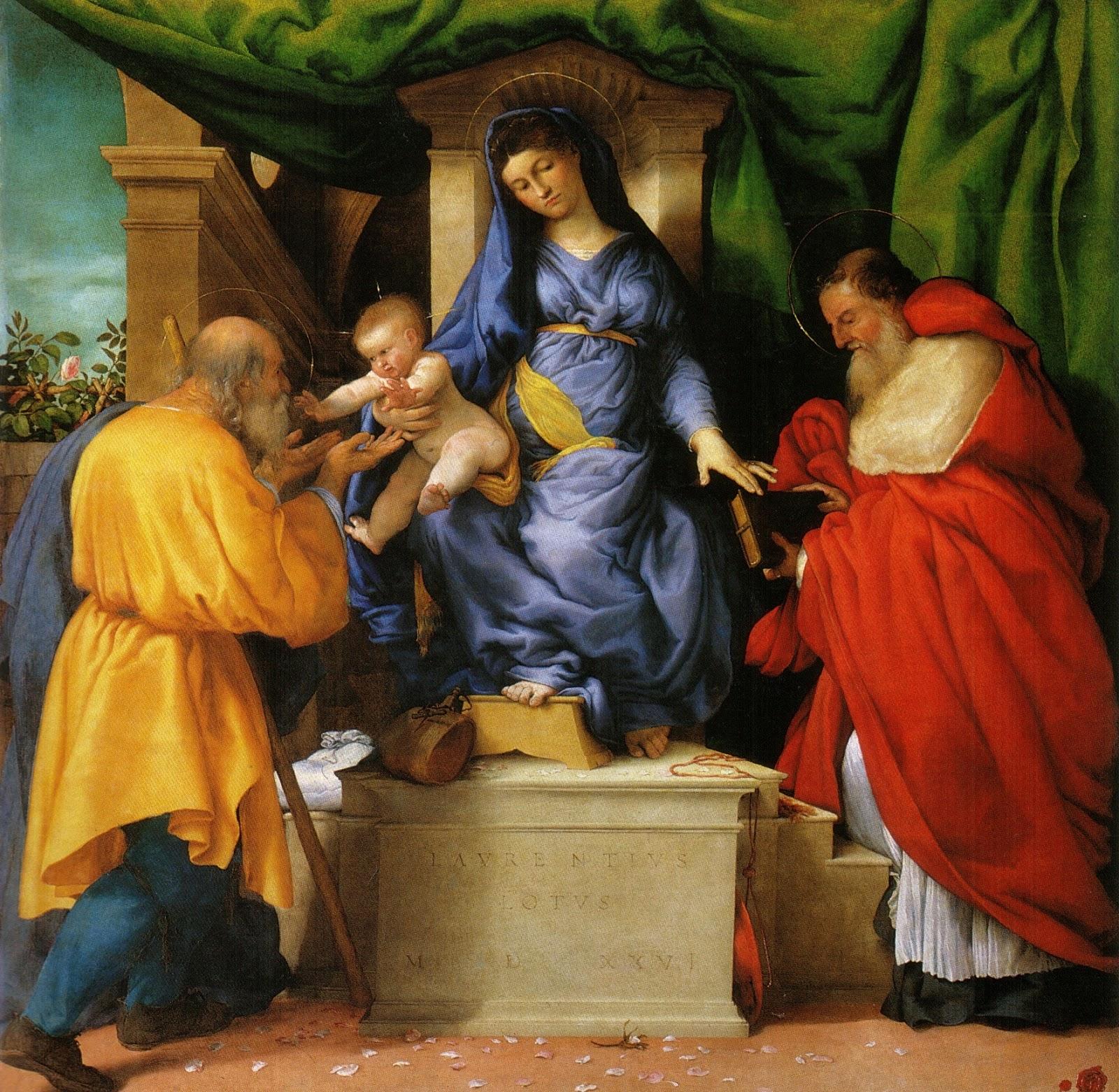 Lorenzo Lotto, Madonna delle Rose, dettaglio