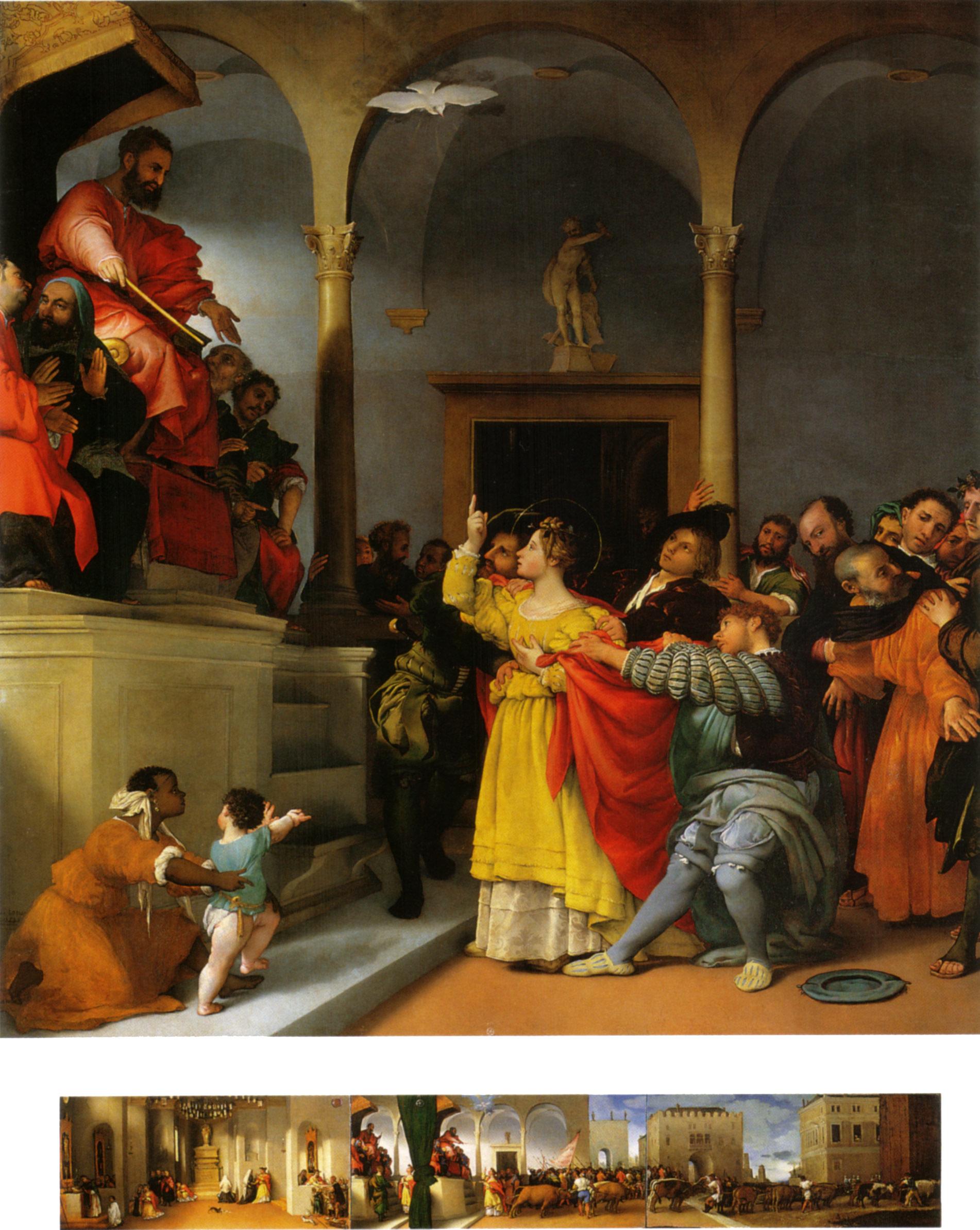 Lorenzo Lotto, Pala di Santa Lucia (1532; olio su tavola, 243 x 237 cm, la predella olio su tavola di 32 x 69 cm ciascuna; Jesi, Pinacoteca Comunale, Palazzo Pianetti)