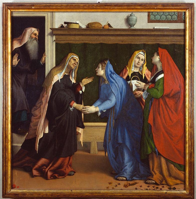Lorenzo Lotto, Visitazione (1538-1539; olio su tela, 154 x 152 cm; Jesi, Pinacoteca Comunale, Palazzo Pianetti)