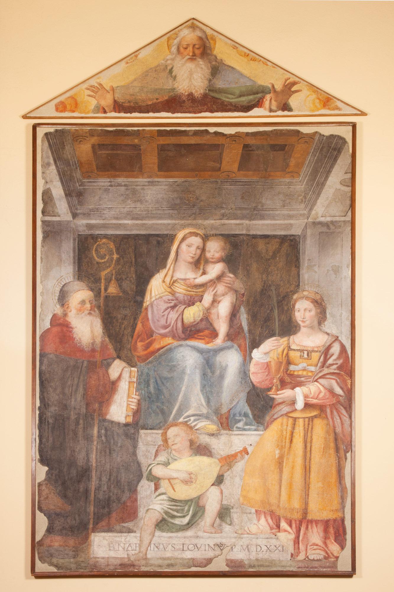 Bernardino Luini, Madonna col bambino in trono con i Santi Antonio Abate e Barbara (1521; Museo Nazionale Scienza e Tecnologia Leonardo da Vinci, in deposito dalla Pinacoteca di Brera)