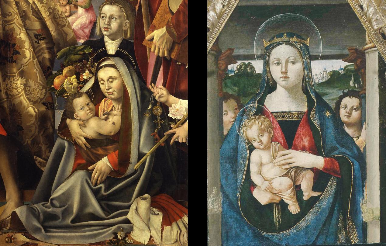 11. Pala della Pergola, dettaglio. 12.Polittico di Lione, dettaglio dela Madonna col Bambino e angeli
