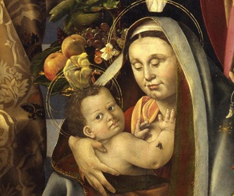 3. Bernardino Detti, Madonna dell'umiltà e santi, dettaglio, Madonna col Bambino