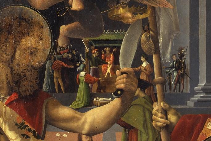 4. Bernardino Detti, Madonna dell'umiltà e santi, dettaglio, Giudizio di Salomone