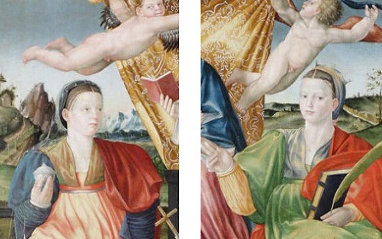 7 e 8. Bernardino Detti, Madonna col Bambino, angeli e santi (Pala di Wawel), dettaglio della Maddalena e Caterina