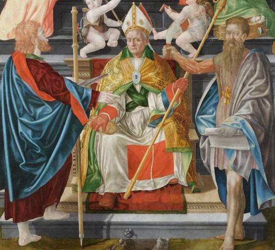 9. Bernardino Detti, Madonna col Bambino, angeli e santi (Pala di Wawel), dettaglio di san Zeno