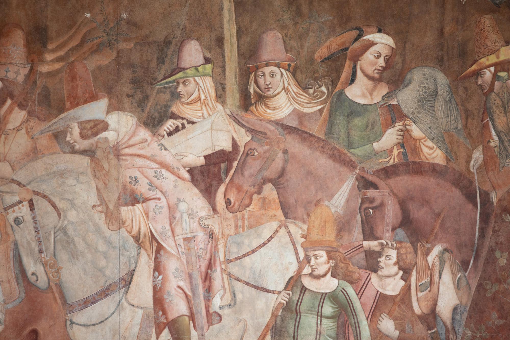 Bonamico Buffalmacco, Trionfo della Morte, dettaglio dell'allegra cavalcata