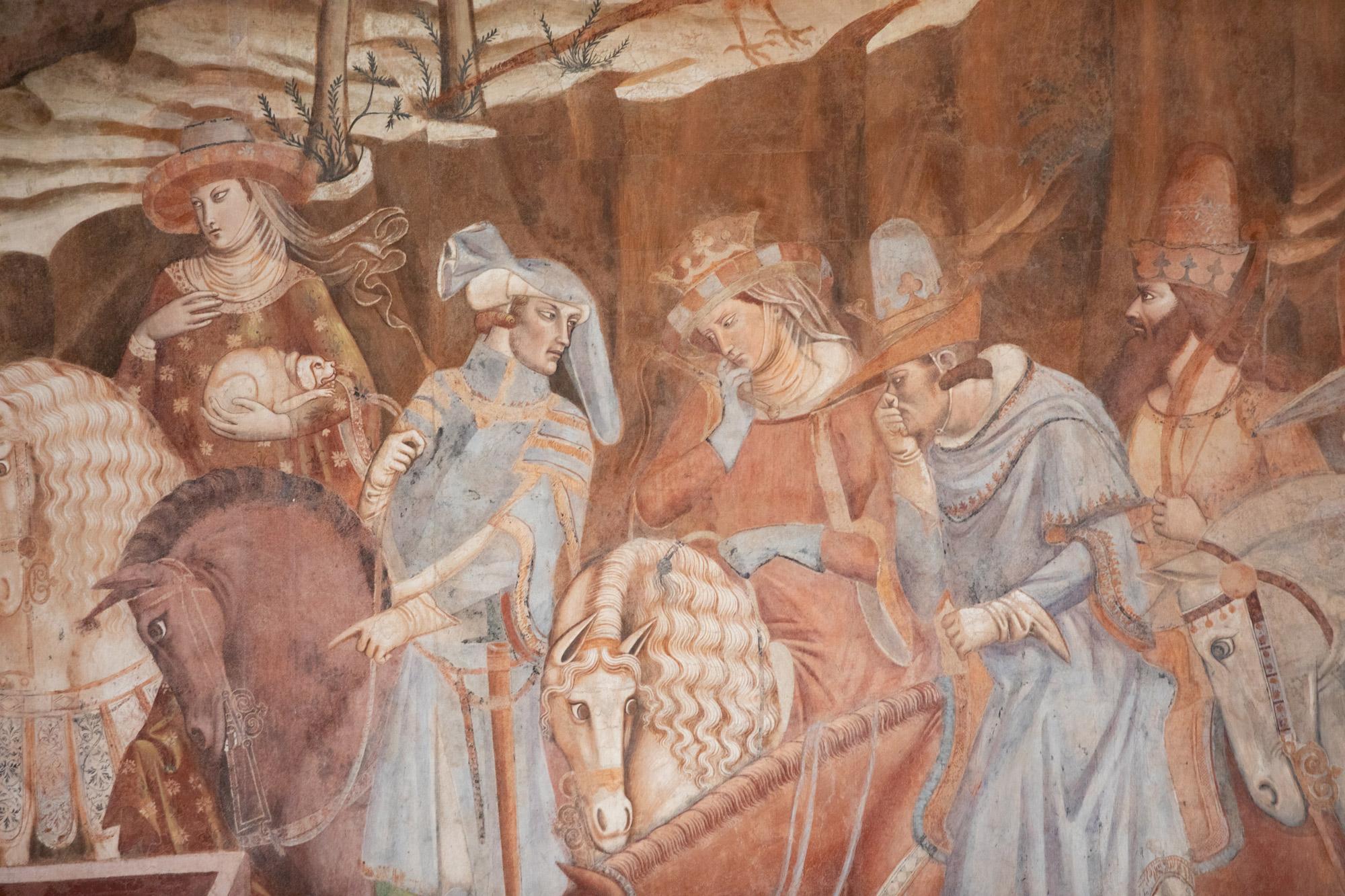 Bonamico Buffalmacco, Trionfo della Morte, dettaglio della scoperta dei tre cadaveri