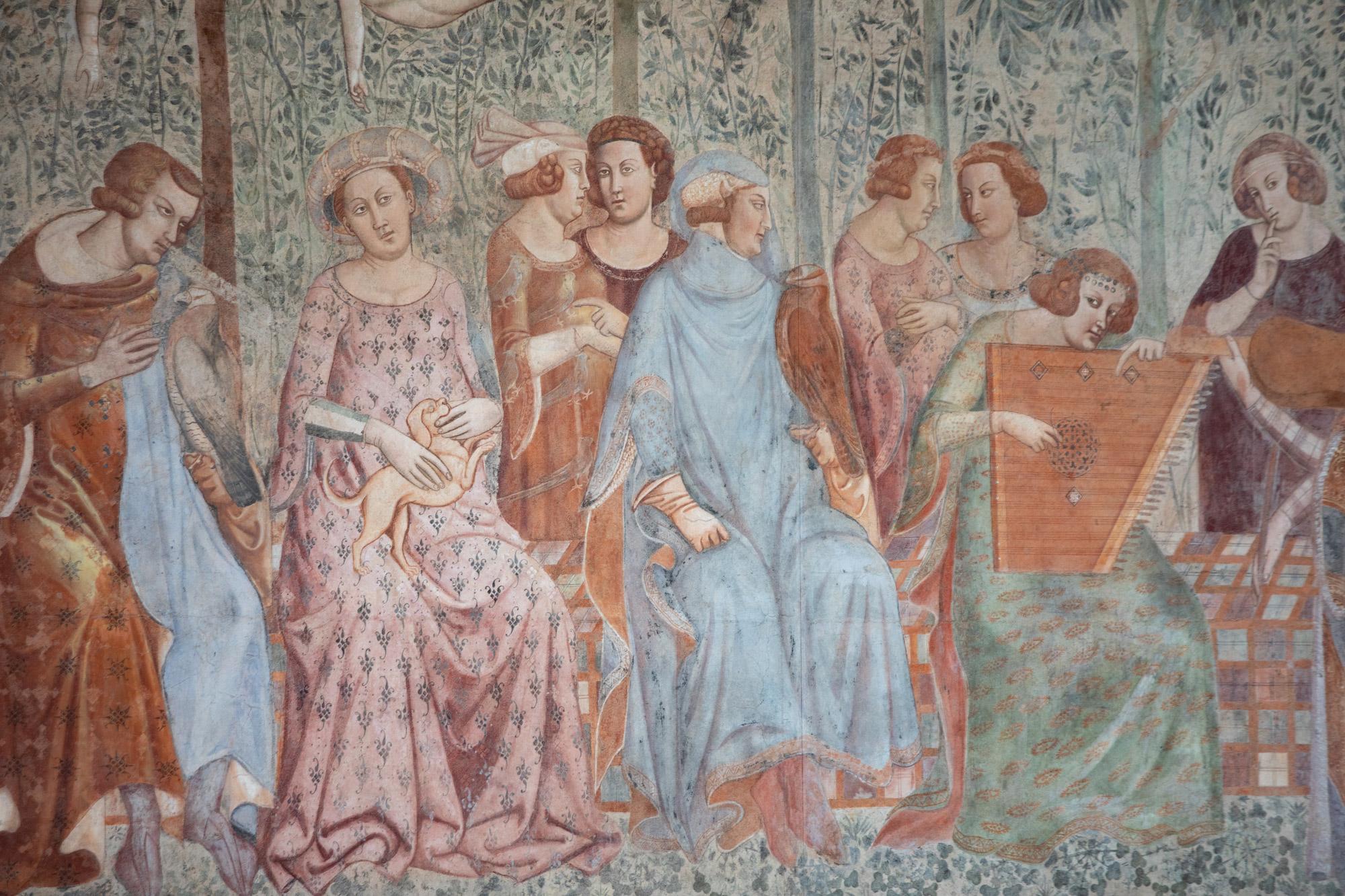 Bonamico Buffalmacco, Trionfo della Morte, dettaglio del giardino d'amore