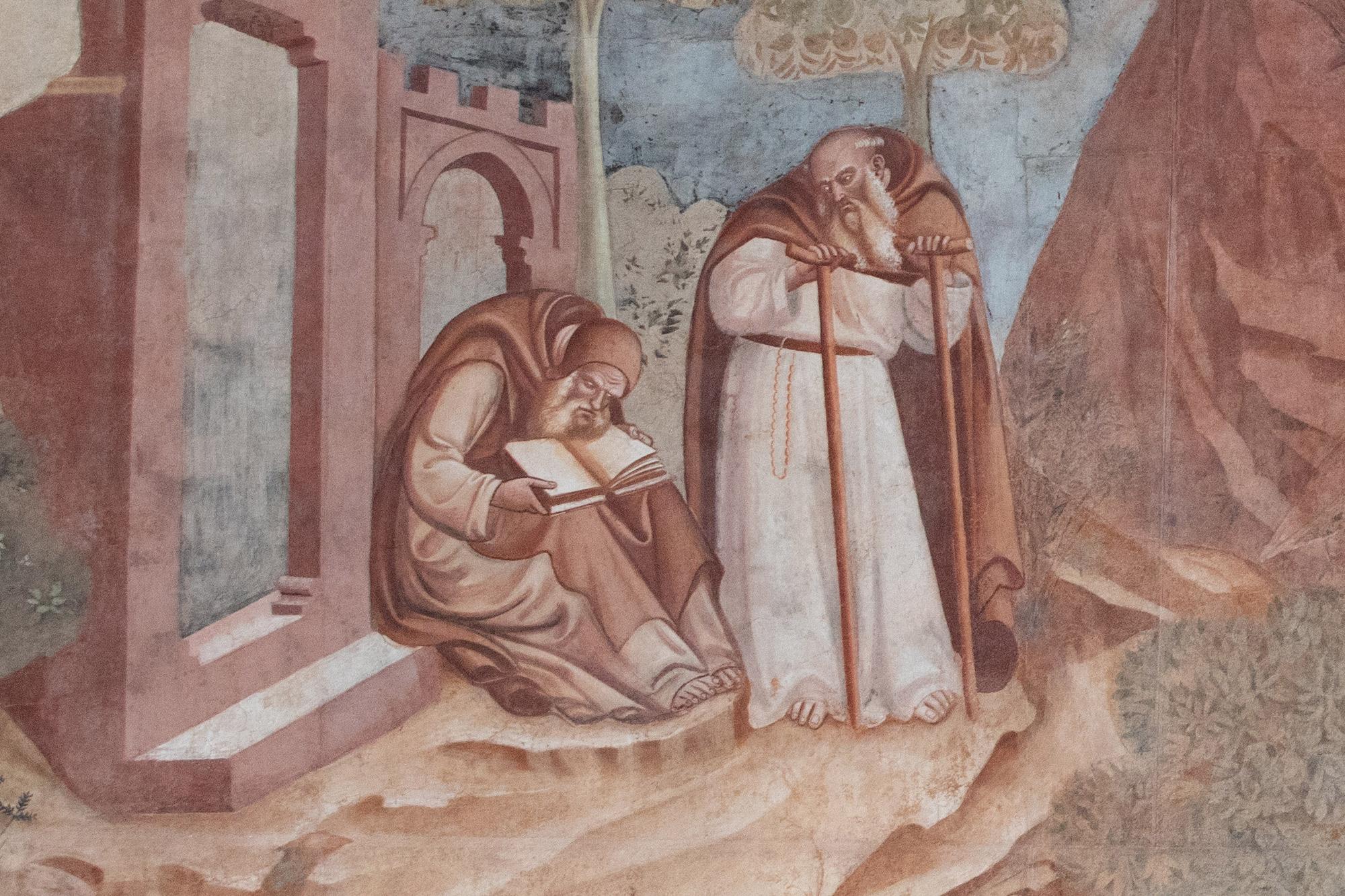Bonamico Buffalmacco, Trionfo della Morte, dettaglio degli anacoreti