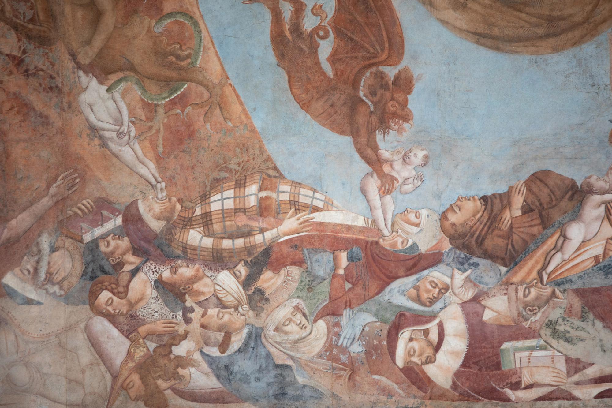 Bonamico Buffalmacco, Trionfo della Morte, dettaglio dei potenti vinti dalla morte