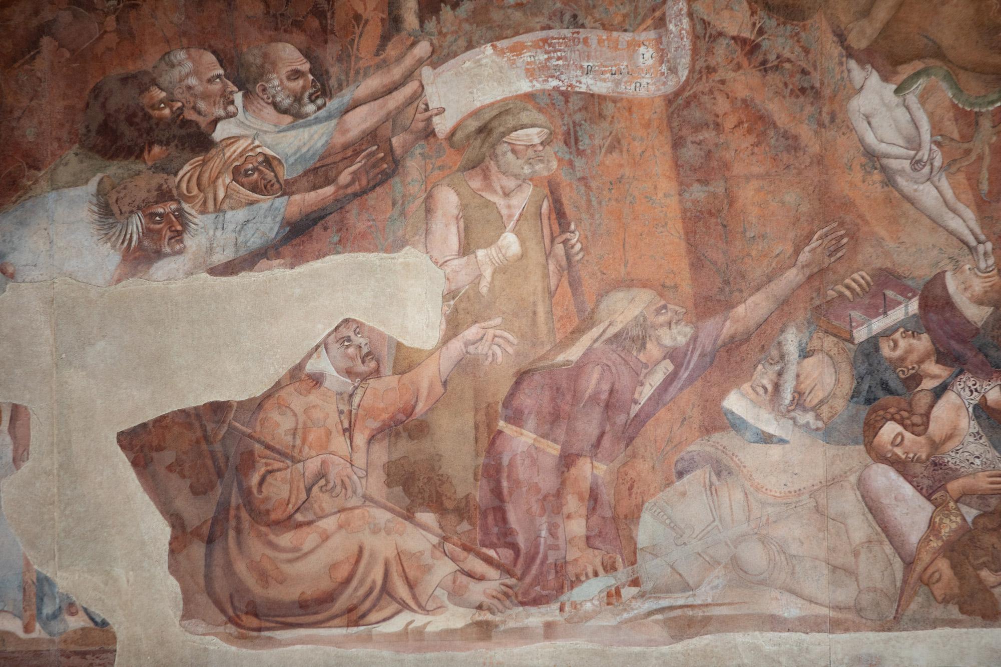 Bonamico Buffalmacco, Trionfo della Morte, dettaglio dei poveri e dei malati che invocano la Morte