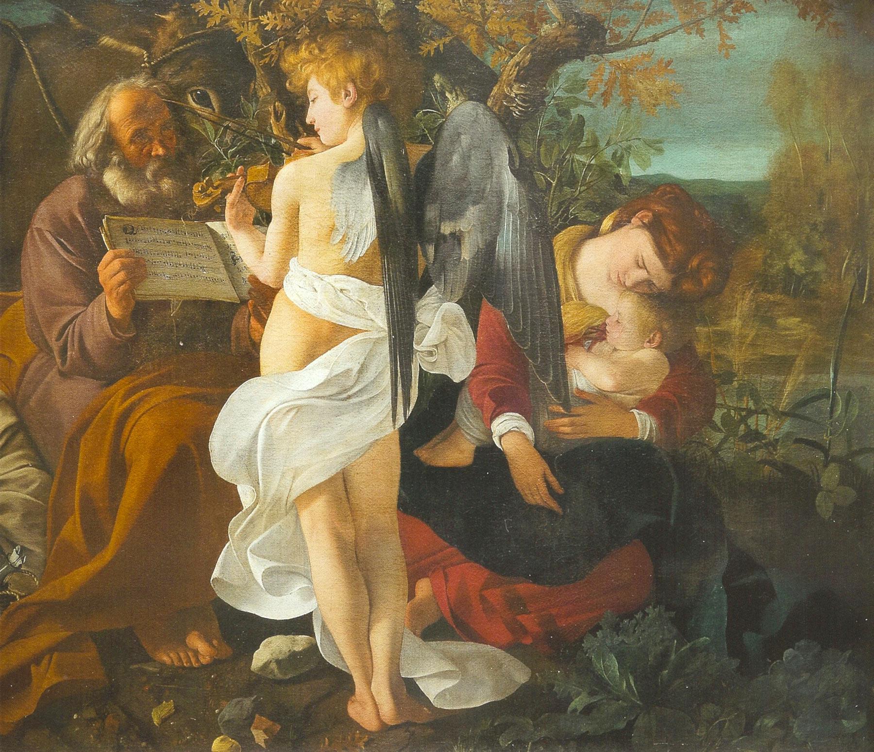 Caravaggio, Riposo durante la Fuga in Egitto (olio su tela, 135,5 x 166,5 cm; Roma, Collezione Doria Pamphilj)