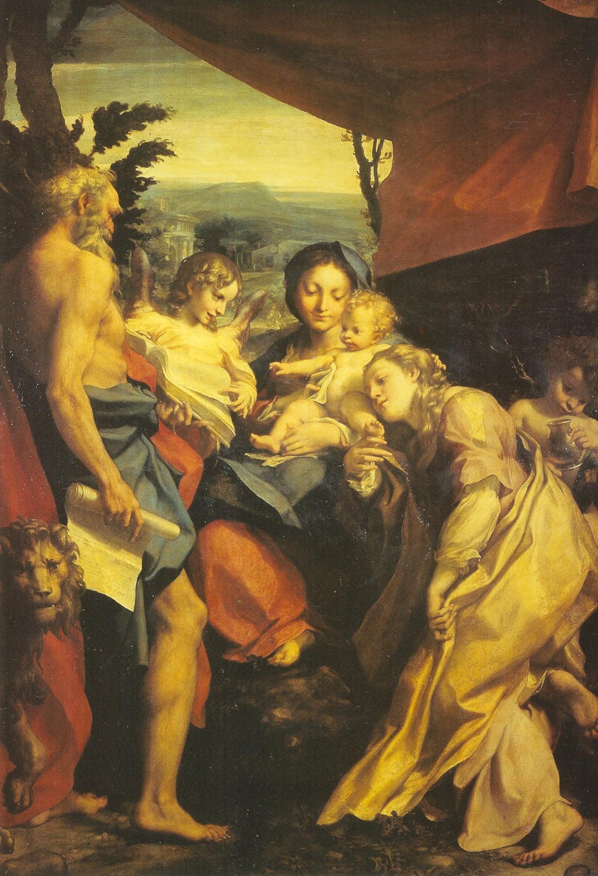 Correggio, Il Giorno (Madonna del San Girolamo) (olio su tavola, 205 x 141 cm; Parma, Galleria Nazionale)