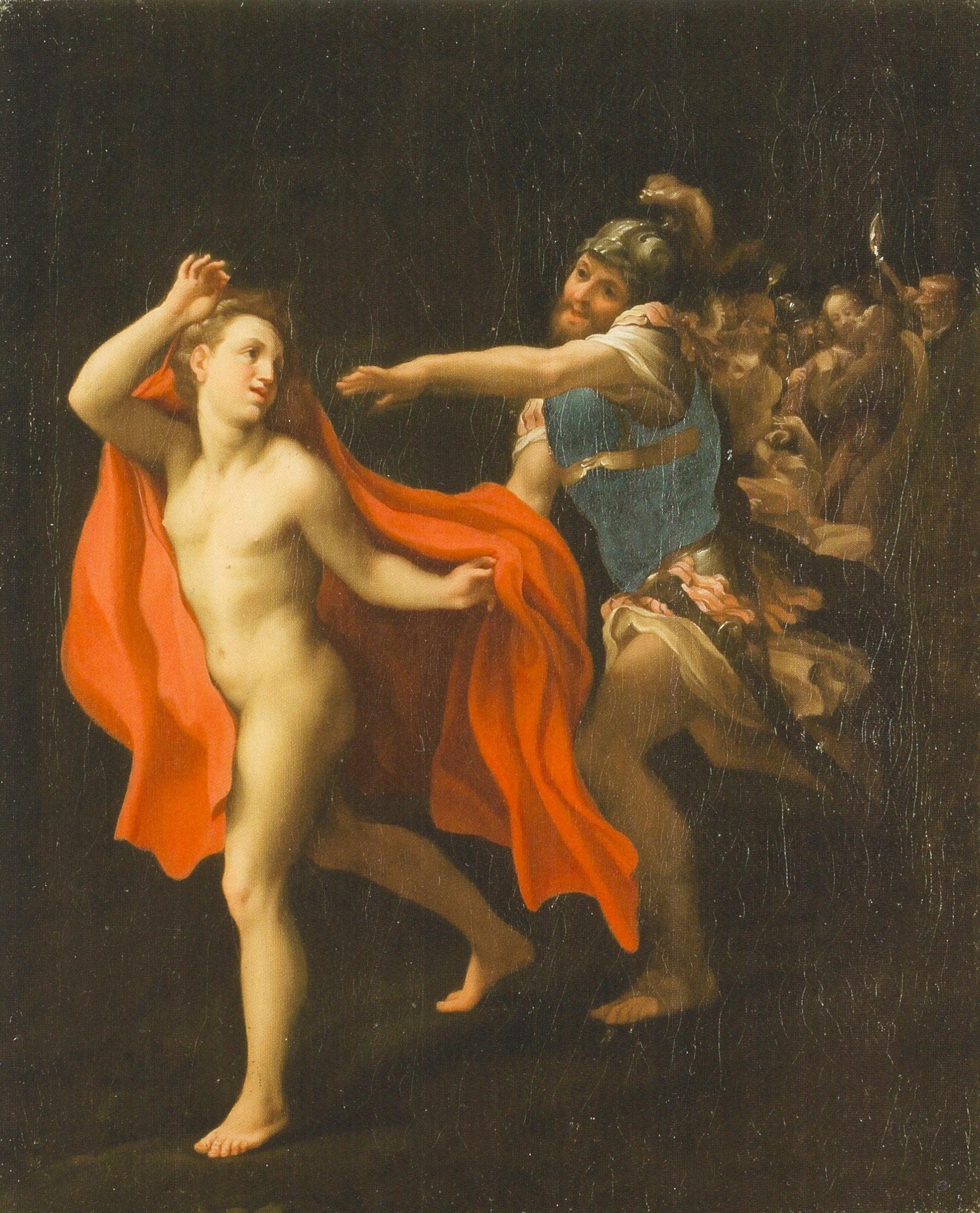 Correggio, Giovane che sfugge alla cattura di Cristo (olio su tela, 56 x 46 cm; Proprietà privata)