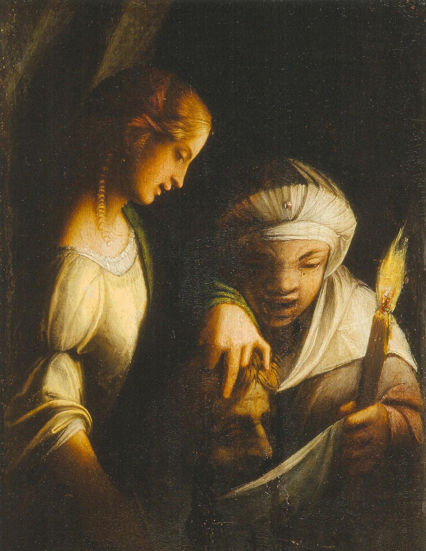 Correggio, Giuditta e la sua ancella con la testa di Oloferne (olio su tavola 27 x 20 cm; Strasburgo, Musée del Beaux-Arts)