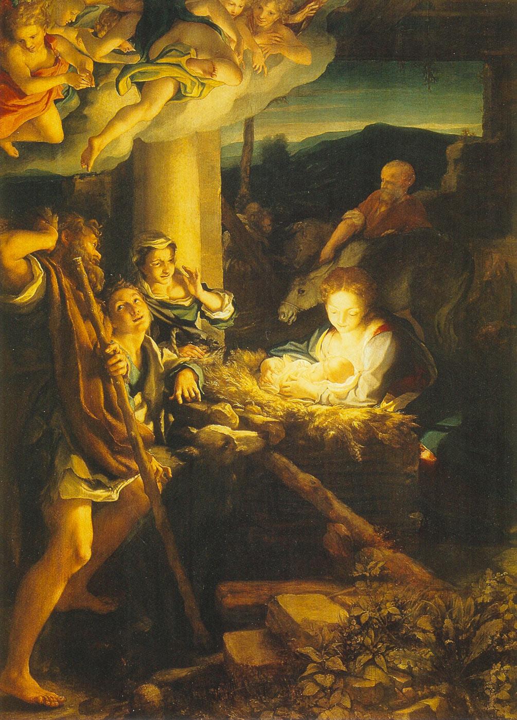 Correggio, La Notte (Adorazione dei pastori) (olio su tavola, 256,5 x 188 cm; Dresda, Gemäldegalerie)