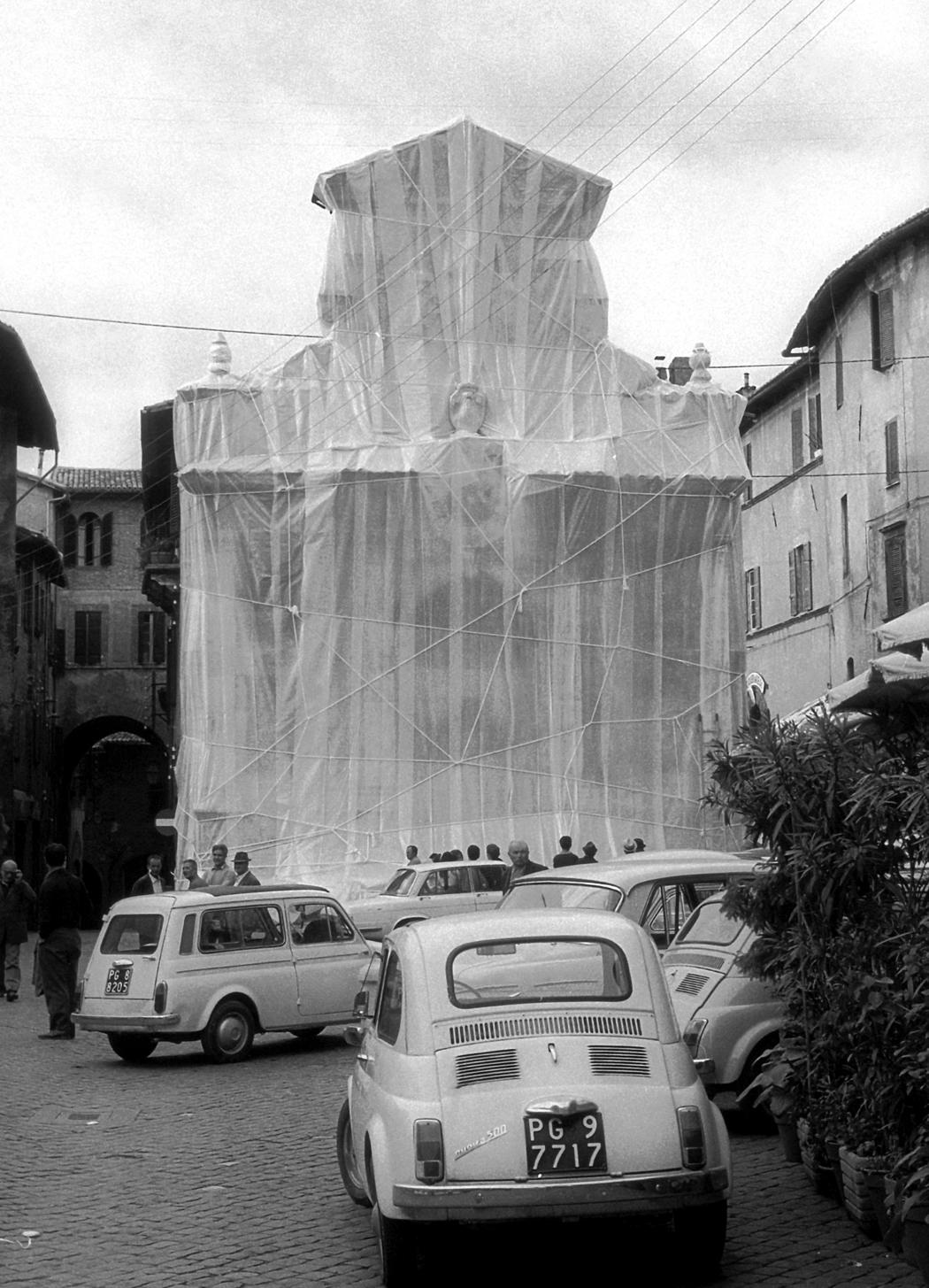 Wrapped Fountain and Wrapped Medieval Tower (1968)