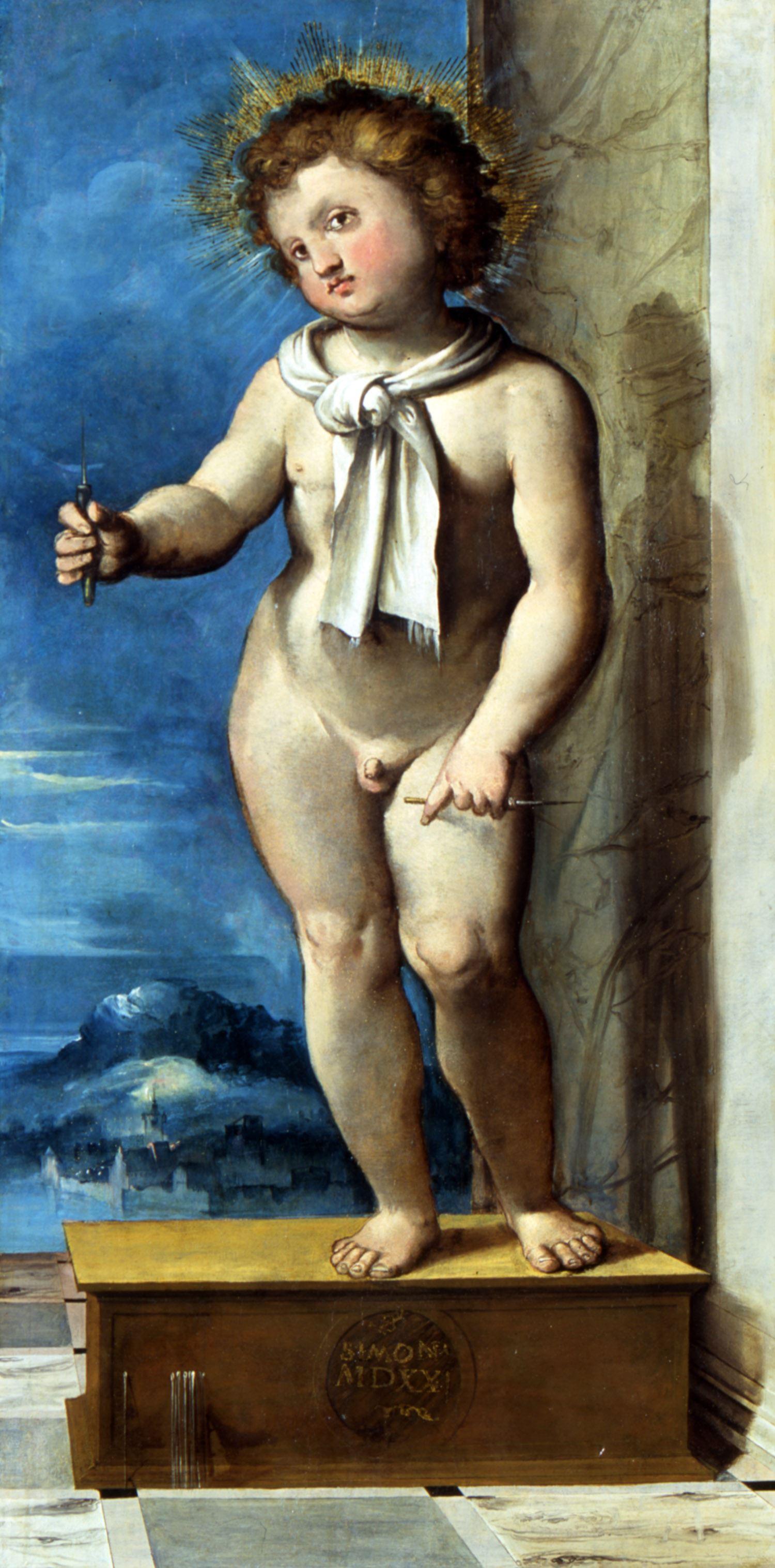 Altobello Melone, Simonino da Trento (1523; olio su tavola, 98 x 47 cm; Trento, Castello del Buonconsiglio, inv. MN 1381)