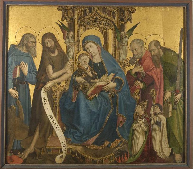 Michael Tanner (?), Madonna in trono con il Bambino tra i santi Girolamo, Giovanni Battista, Pietro e Paolo, il principe vescovo Johannes Hinderbach e il suo cappellano (Trento, Museo Diocesano Tridentino)