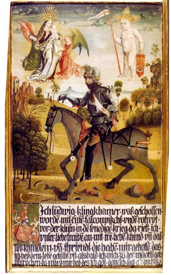 Pittore tirolese (Ludwig Konraiter?), Tavola votiva di Ludwig Klingkhamer con la Madonna e Simonino da Trento trionfante (1487; tempera e olio su tavola, 60 x 34,8 cm; Innsbruck, Prämonstratenser Chorherrenstift Wilten)