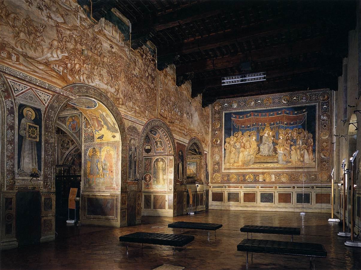 Palazzo Pubblico, la parete della Sala del Mappamondo che ospita la Maestà di Simone Martini