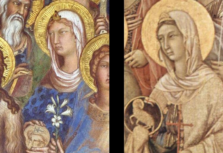 Confronto tra la sant'Agnese di Simone Martini e la sant'Agnese della Maestà di Duccio di Buoninsegna
