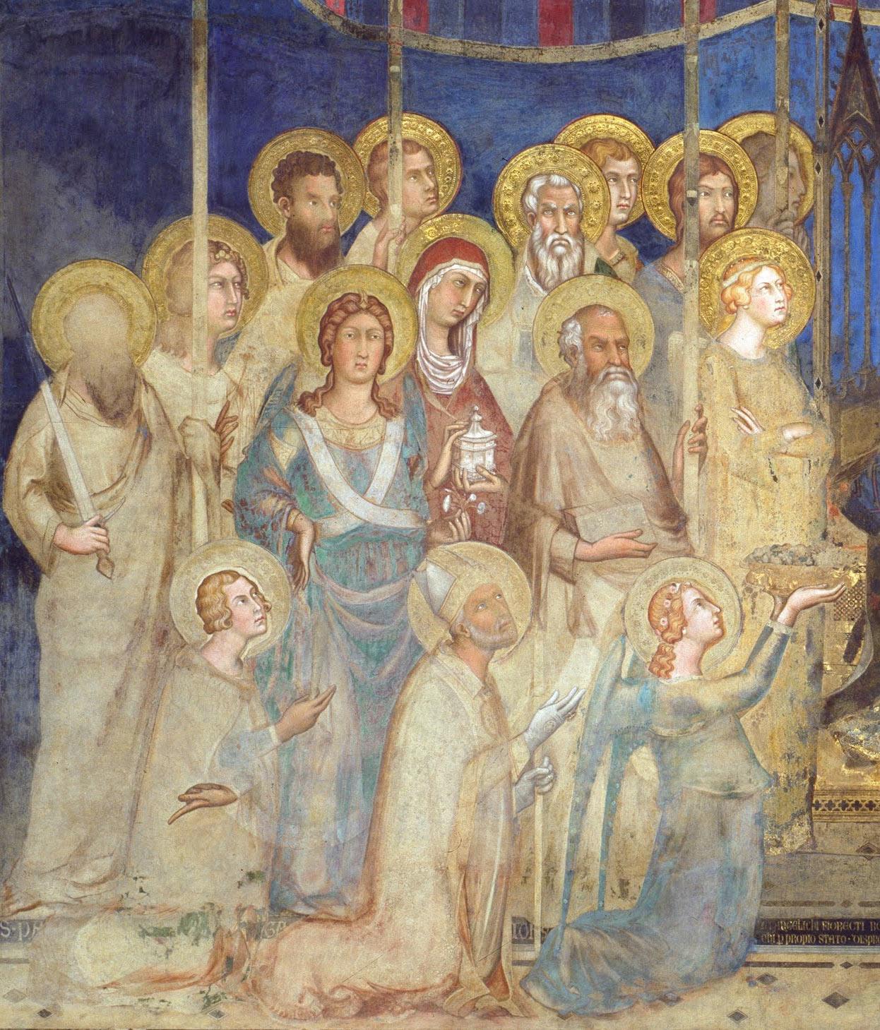 Il gruppo di angeli e santi a destra della Vergine. Partendo dal basso, prima fila: sant'Ansano, san Savino, un angelo. Seconda fila: san Paolo, san Michele, san Giovanni Evangelista. Terza fila: Uriel, santa Maria Maddalena, sant'Orsola. Quarta fila: san Bartolomeo, san Matteo, san Giacomo minore.