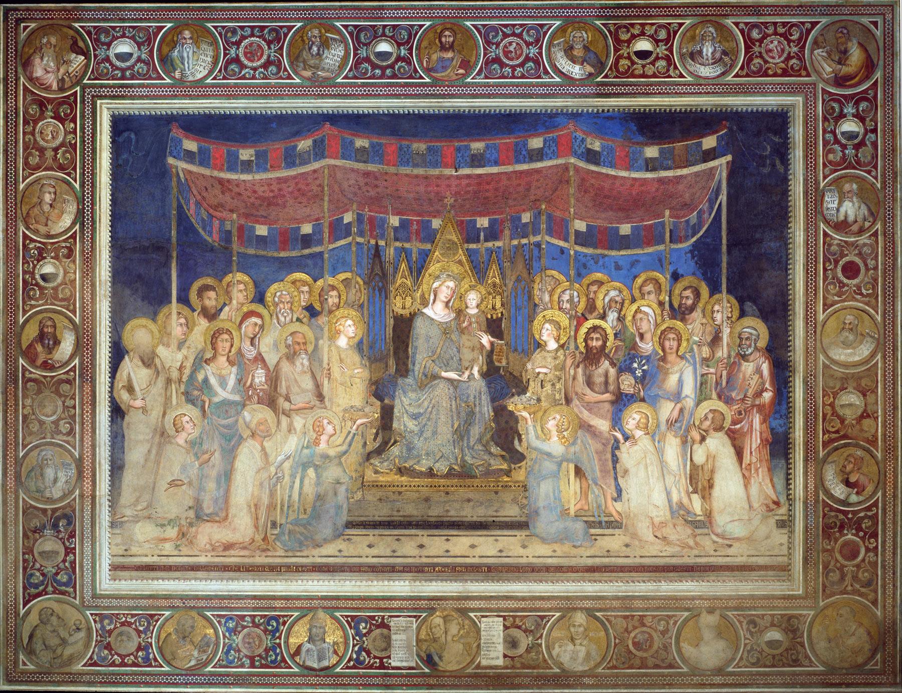 Simone Martini, Maestà (1312-1315; affresco e applicazioni di materiali varî, 763 x 970 cm; Siena, Palazzo Pubblico)