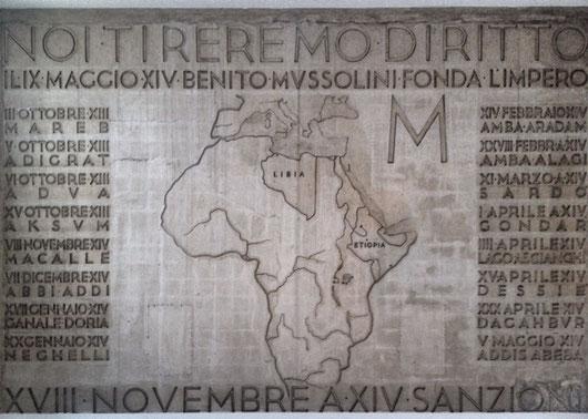 La mappa dell'Africa alla Casa della Gioventù italian del littorio di Roma