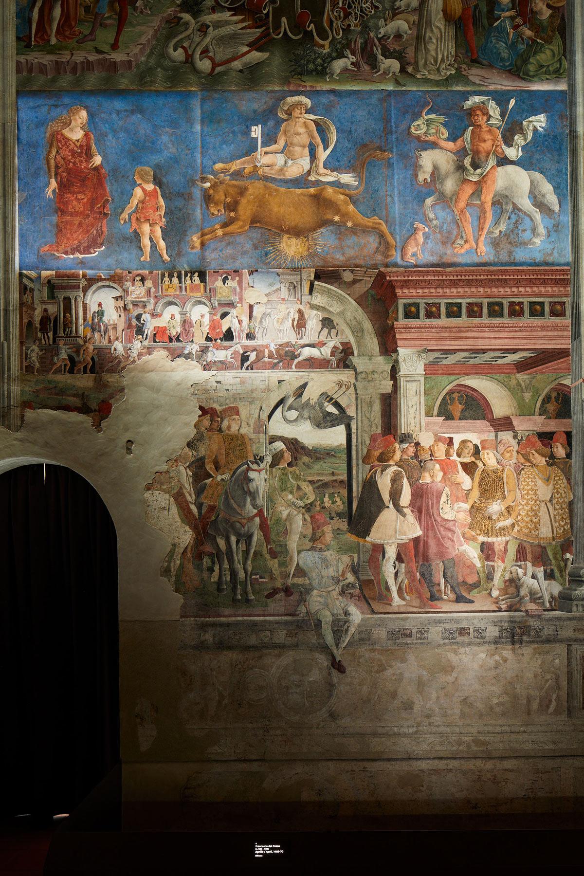Palazzo Schifanoia, Salone dei Mesi, parete est, Aprile (Francesco del Cossa, 1469-70)  durante la sequenza luminosa. Ph. Credit Henrik Blomqvist