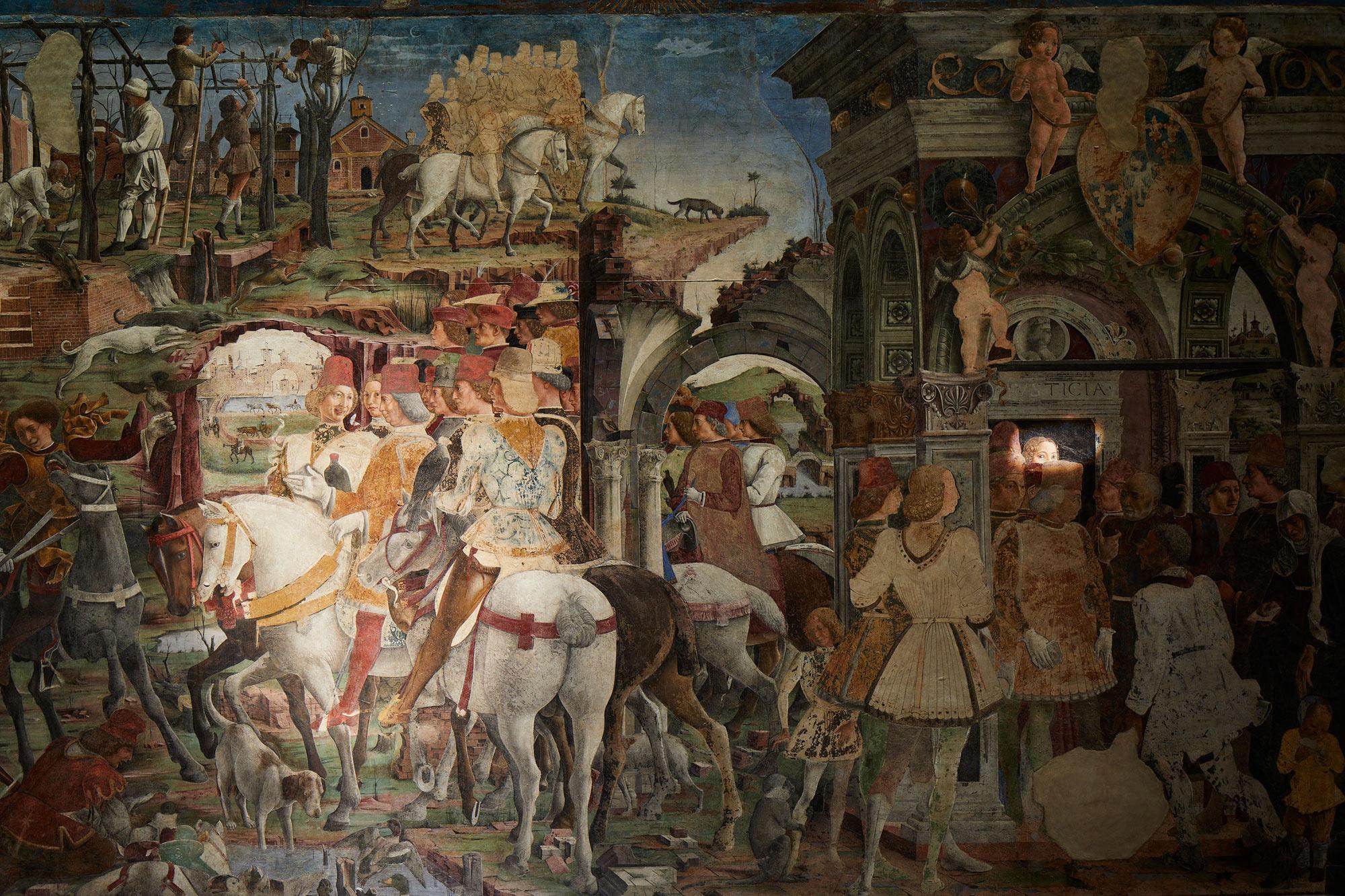 Palazzo Schifanoia, Salone dei Mesi, Marzo, dettaglio scene di vita alla corte di Borso d'Este (Francesco del Cossa, 1469-70) durante la sequenza luminosa. Ph. Credit Henrik Blomqvist