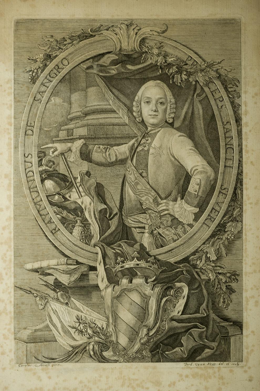Carlo Amalfi e Ferdinando Vacca, Ritratto di Raimondo di Sangro (1747-1750 circa; incisione)