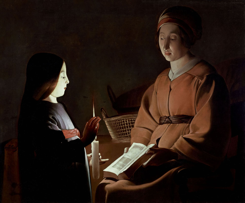 Georges de La Tour (e bottega?), L'educazione della Vergine (1650 circa; olio su tela, 83,8 x 100,3 cm; New York, The Frick Collection)