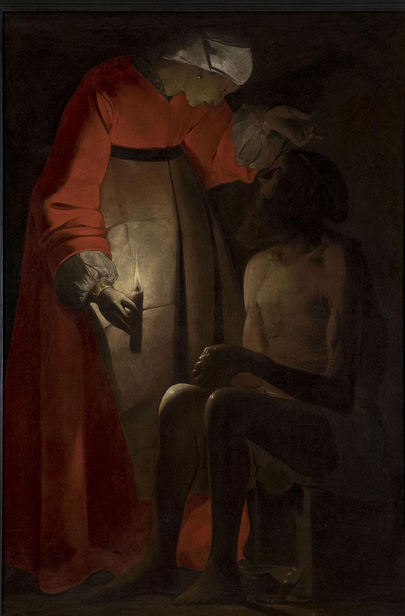 Georges de La Tour, Giobbe deriso dalla moglie (1650 circa; olio su tela, 145 x 97 cm; Epinal, Musée départemental d'Art ancien et contemporain)