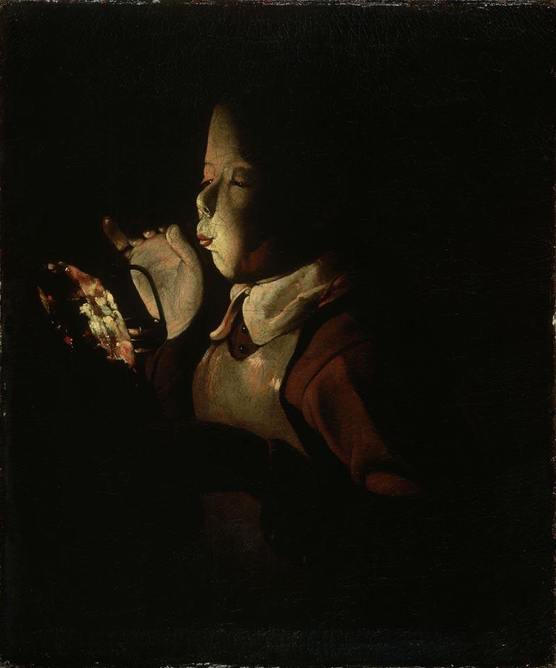 Georges de La Tour, Giovane che soffia su un tizzone (1640 circa; olio su tela, 61 x 51 cm; Digione, Musée des Beaux-Arts)