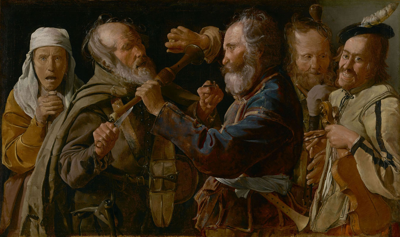 Georges de La Tour, La rissa tra musici mendicanti (1625 - 1630 circa; olio su tela, 85,7 x 141 cm; Los Angeles, The J. Paul Getty Museum)