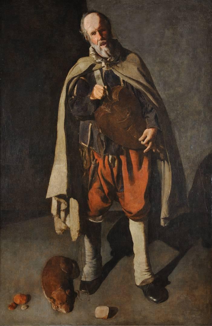 Georges de La Tour, Il suonatore di ghironda con cane (1622 – 1625; olio su tela, 186 x 120 cm; Bergues, Musée du Mont-de-Piété)