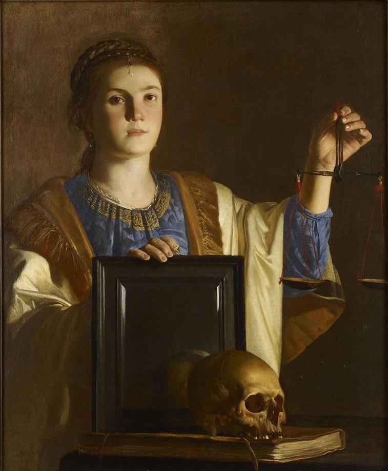 Gerrit van Honthorst, Vanitas (1618 circa; olio su tela, 104 x 84 cm; Oxford, The Ashmolean Museum)