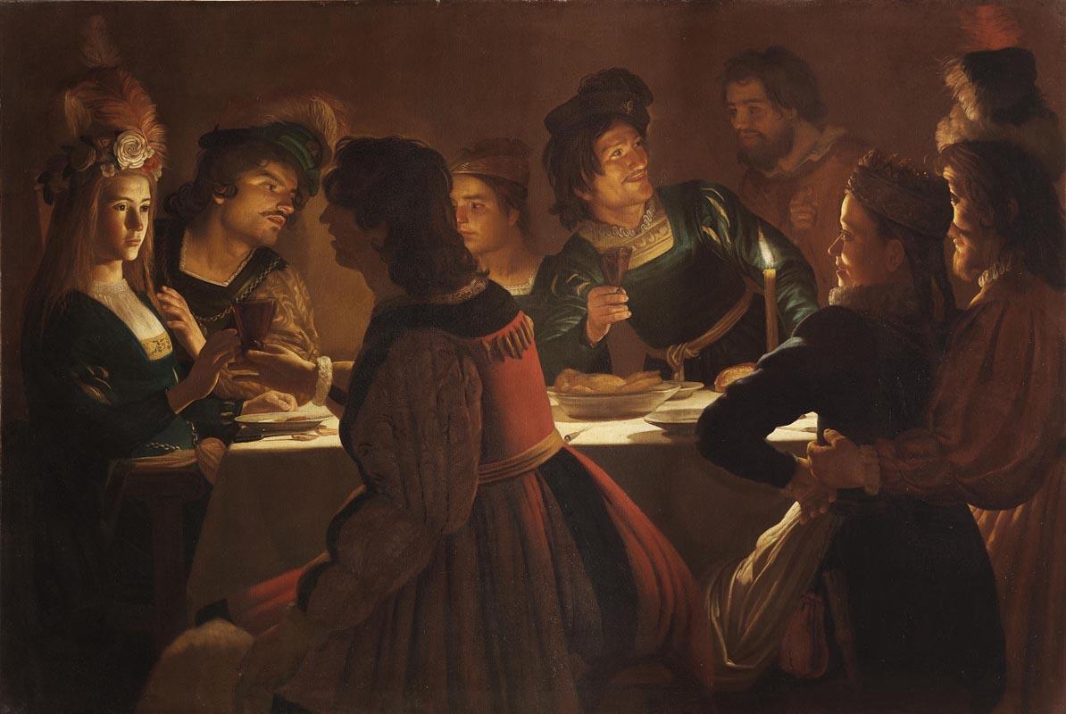 Gerrit van Honthorst, Cena con sponsali (1613-1614; olio su tela, 138 x 203 cm; Firenze, Galleria degli Uffizi)