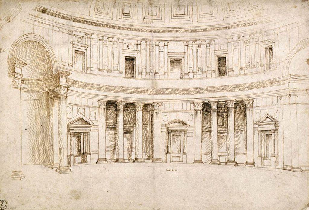 Raffaello, Interno del Pantheon (1506 circa; penna e inchiostro su carta, 277 x 407 mm; Firenze, Galleria degli Uffizi, Gabinetto dei Disegni e delle Stampe)